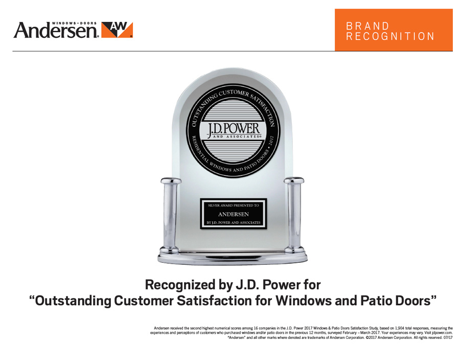 Andersen Windows Recognized by JD Power